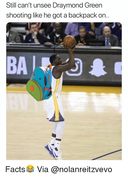 Draymond Green: Still can't unsee Draymond Green  shooting like he got a backpack on.  BA Facts😂 Via @nolanreitzvevo