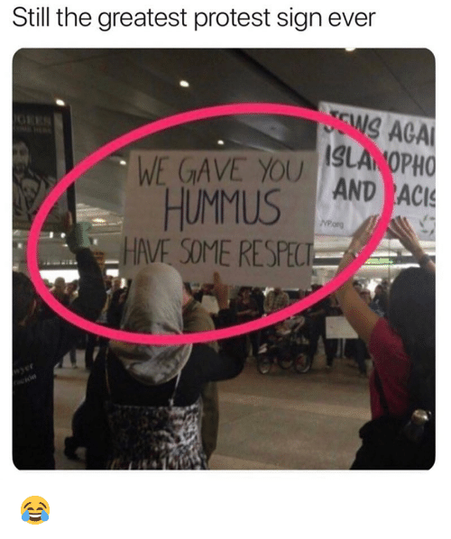 Funny, Protest, and Aca: Still the greatest protest sign ever  N ACA  WE GAVE YOU LA OPH  MUS AND AC  HAVE SOME RESPEC 😂