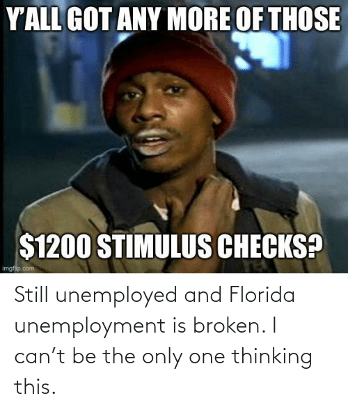 broken: Still unemployed and Florida unemployment is broken. I can't be the only one thinking this.