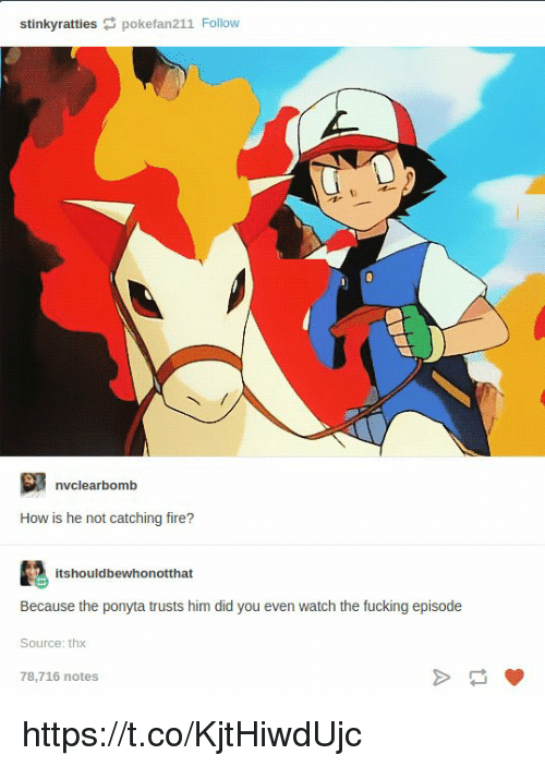 Fire, How, and Eve: stinkyratties pokefan211 Follow  nvclearbomb  How is he not catching fire?  itshouldbewhonotthat  Because the ponya musts him ldl ou eve wch hn  Source: thx  78,716 notes https://t.co/KjtHiwdUjc