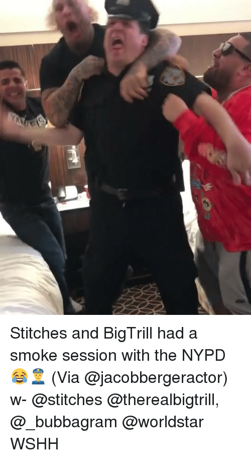Memes, Stitches, and Worldstar: Stitches and BigTrill had a smoke session with the NYPD 😂👮 (Via @jacobbergeractor) w- @stitches @therealbigtrill, @_bubbagram @worldstar WSHH