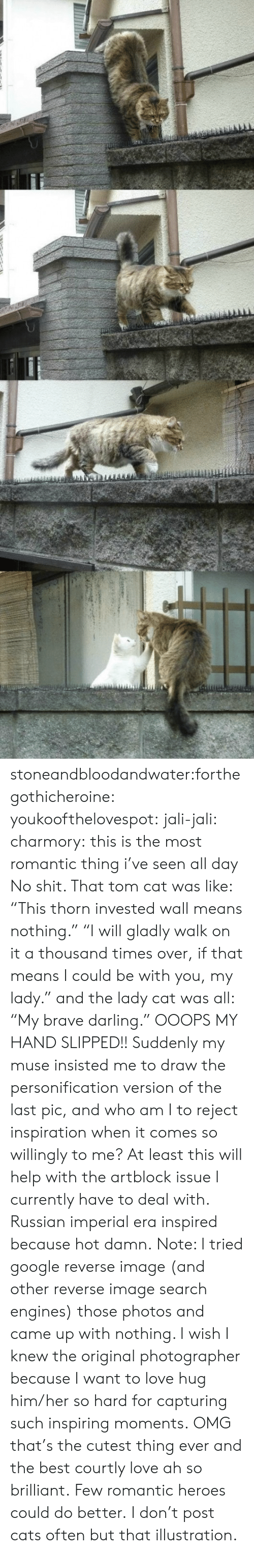 "Cats, Google, and Love: stoneandbloodandwater:forthegothicheroine:  youkoofthelovespot:  jali-jali:  charmory:  this is the most romantic thing i've seen all day  No shit. That tom cat was like: ""This thorn invested wall means nothing."" ""I will gladly walk on it a thousand times over, if that means I could be with you, my lady."" and the lady cat was all: ""My brave darling."" OOOPS MY HAND SLIPPED!! Suddenly my muse insisted me to draw the personification version of the last pic, and who am I to reject inspiration when it comes so willingly to me? At least this will help with the artblock issue I currently have to deal with. Russian imperial era inspired because hot damn. Note: I tried google reverse image (and other reverse image search engines) those photos and came up with nothing. I wish I knew the original photographer because I want to love hug him/her so hard for capturing such inspiring moments.  OMG that's the cutest thing ever and the best courtly love ah so brilliant.  Few romantic heroes could do better.  I don't post cats often but that illustration."