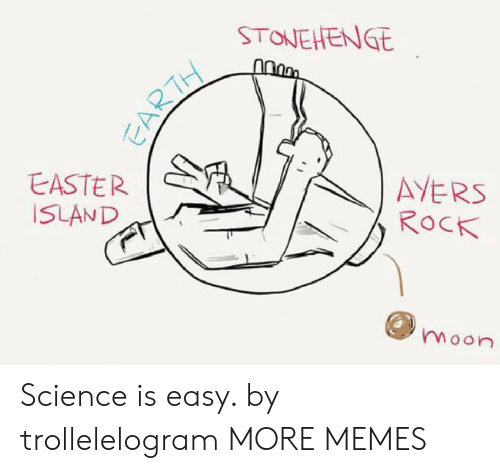 Dank, Easter, and Memes: STONEHENGE  AYERS  ROCK  EASTER  ISLAND  moon  EARTH Science is easy. by trollelelogram MORE MEMES