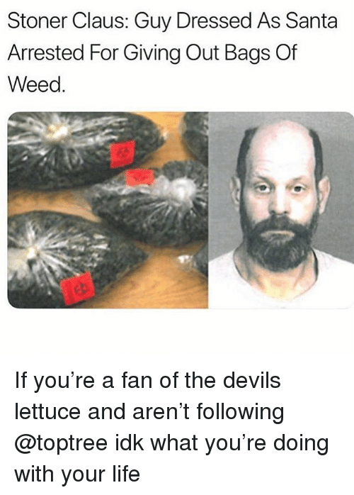 Funny, Life, and Weed: Stoner Claus: Guy Dressed As Santa  Arrested For Giving Out Bags Of  Weed. If you're a fan of the devils lettuce and aren't following @toptree idk what you're doing with your life