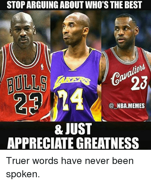 Arguing, Meme, and Memes: STOP ARGUING ABOUTWHO'S THE BEST  NBA MEMES  & JUST  APPRECIATE GREATNESS Truer words have never been spoken.