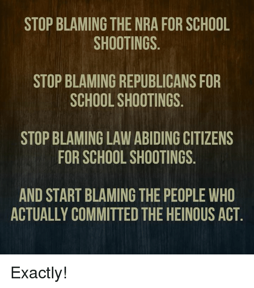 Memes, School, and 🤖: STOP BLAMING THE NRA FOR SCHOOL  SHOOTINGS  STOP BLAMING REPUBLICANS FOR  SCHOOL SHOOTINGS  STOP BLAMING LAW ABIDING CITIZENS  FOR SCHOOL SHOOTINGS  AND START BLAMING THE PEOPLE WHO  ACTUALLY COMMITTED THE HEINOUS ACT Exactly!