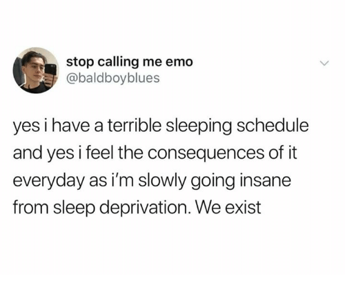 sleep deprivation: stop calling me emo  @baldboyblues  yes i have a terrible sleeping schedule  and yes i feel the consequences of it  everyday as i'm slowly going insane  from sleep deprivation. We exist