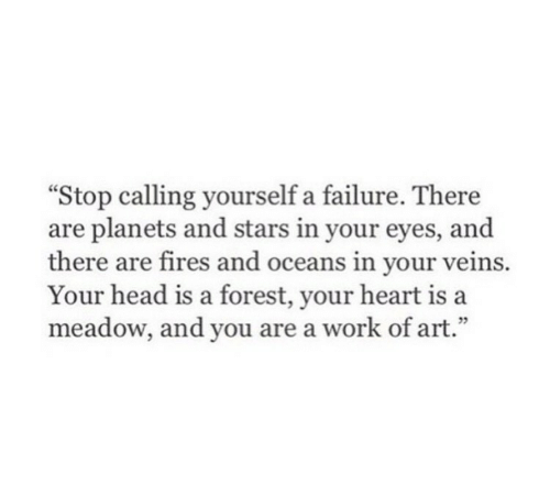 "Head, Work, and Heart: ""Stop calling yourself a failure. There  are planets and stars in your eyes, and  there are fires and oceans in your veins.  Your head is a forest, your heart is a  meadow, and you are a work of art.""  35"