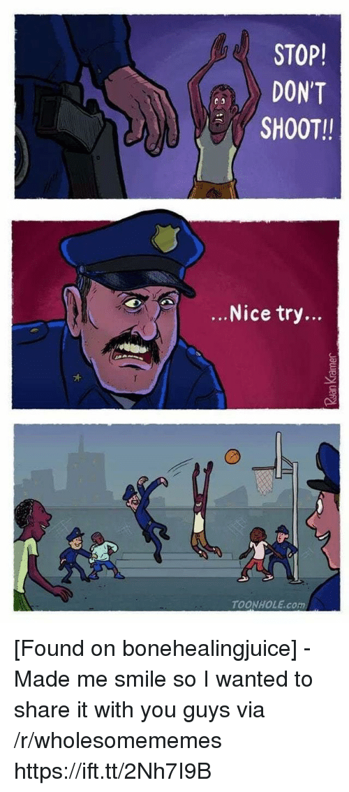 Smile, Nice, and Com: STOP!  DON'T  SHOOT!  ...Nice try...  TOONHOLE.com [Found on bonehealingjuice] - Made me smile so I wanted to share it with you guys via /r/wholesomememes https://ift.tt/2Nh7I9B