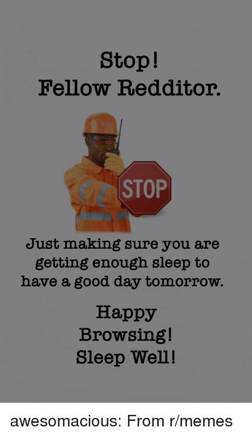 sleep well: Stop!  Fellow Redditor.  CC STOP  Just making sure you are  getting enough sleep to  have a good day tomorrow.  Happy  Browsing!  Sleep Well! awesomacious:  From r/memes