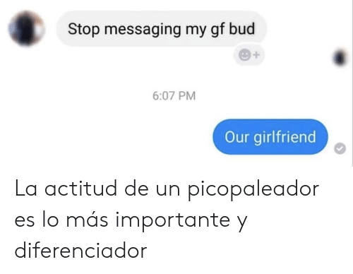 Girlfriend, Stop, and Bud: Stop messaging my gf bud  6:07 PM  Our girlfriend La actitud de un picopaleador es lo más importante y diferenciador