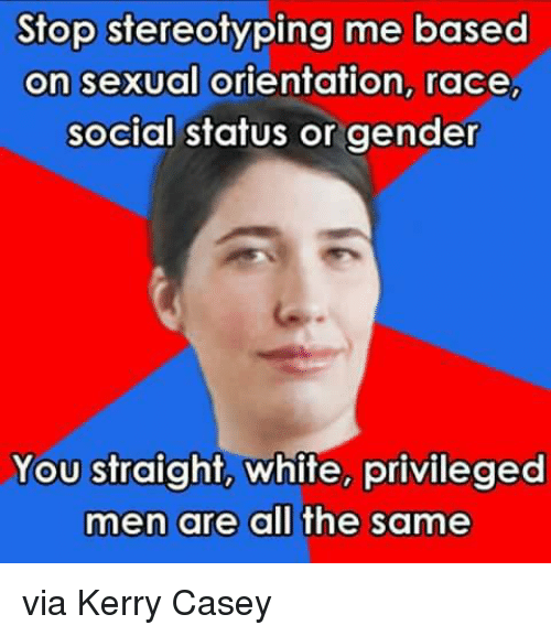 Memes, White, and Race: Stop stereotyping me based  on sexual orientation, race,  social status or gender  You straight, white, privileged  men are all the same via Kerry Casey