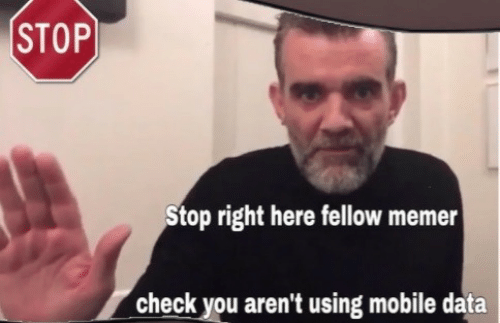 Mobile, Data, and Check: STOP  Stop right here fellow memer  check you aren't using mobile data