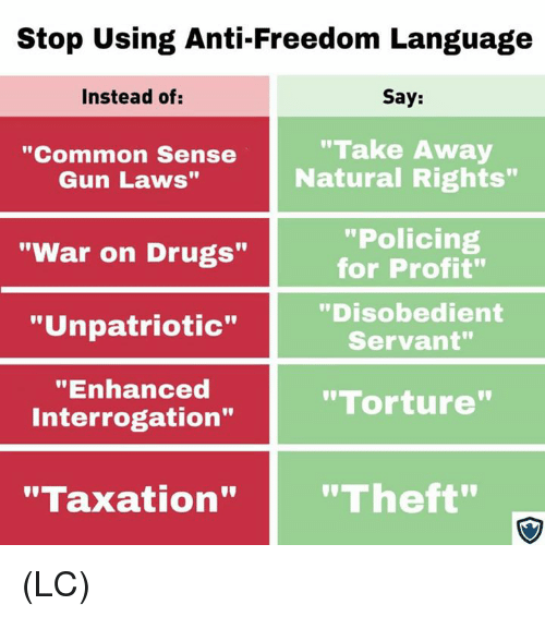 """war on drugs: Stop Using Anti-Freedom Language  Instead of:  Say:  """"Common Sense  Gun Laws""""  """"Take Away  Natural Rights""""  """"Policing  for Profit""""  """"Disobedient  Servant""""  """"War on Drugs""""  """"Unpatriotic""""  """"Enhanced  Interrogation""""  """"Torture  """"Taxation""""""""Theft"""" (LC)"""