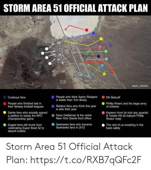 Aaron Rodgers, Children, and Dallas Cowboys: STORM AREA 51 OFFICIAL ATTACK PLAN  @NFL_MEMES  People who think Aaron Rodgers  is better than Tom Brady  Cowboys fans  DK Metcalf  People who finished last in  their fantasy football leagues  Phillip Rivers and his large army  of children  Raiders fans who think this year  is also their year  Kareem Hunt (to kick any guards)  & Tyreek Hill (to babysit Phillip  Rivers' kids)  Saints fans who actually signed  a petition to replay the NFC  Championship game  Dave Gettleman & the entire  New York Giants front office  Seahawks fans who became  Seahawks fans in 2012  Eagles fans still drunk from  celebrating Super Bowl 52 to  absorb bullets  The rest of us sneaking in the  back safely Storm Area 51 Official Attack Plan: https://t.co/RXB7qQFc2F