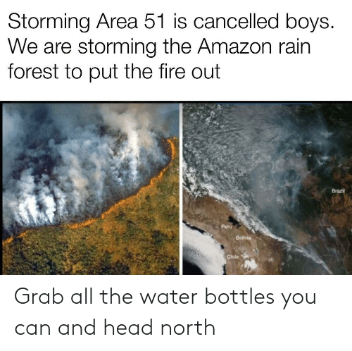 Amazon, Fire, and Head: Storming Area 51 is cancelled boys.  We are storming the Amazon rain  forest to put the fire out  Brazil  Peru  Bolivia  Chile Grab all the water bottles you can and head north