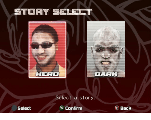 Bar, Story, and Confirm: STORY SELECT  HERAG  BAR  Select a story.  Select  A Confirm  BBack