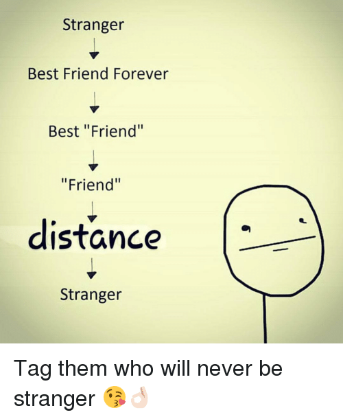 "foreverly: Stranger  Best Friend Forever  Best ""Friend""  ""Friend""  distance  Stranger Tag them who will never be stranger 😘👌🏻"