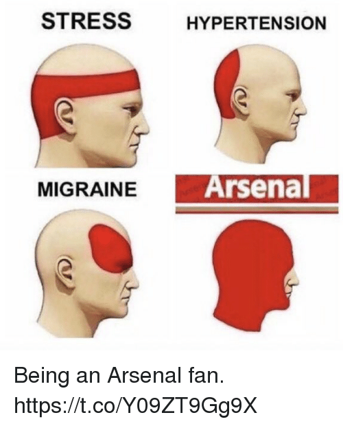 Arsenal, Soccer, and Stress: STRESS  HYPERTENSION  MIGRAINEA  Arsenal Being an Arsenal fan. https://t.co/Y09ZT9Gg9X