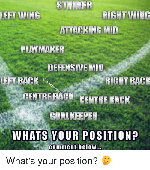 Memes, Back, and 🤖: STRIKER  LEFT WING  RIGHT WING  ATTACKING MID  PLAYMAKER  DEFENSIVE MID  LEFT BACK  RIGHT BACK  CENTRE BACK CENTRE BACK  GOALKEEPER  WHATS YOUR POSITION?  comment beloW.. What's your position? 🤔