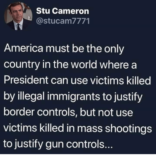 Illegal Immigrants: Stu Cameron  @stucam7771  America must be the only  country in the world where a  President can use victims killed  by illegal immigrants to justify  border controls, but not use  victims killed in mass shootings  to justify gun controls.