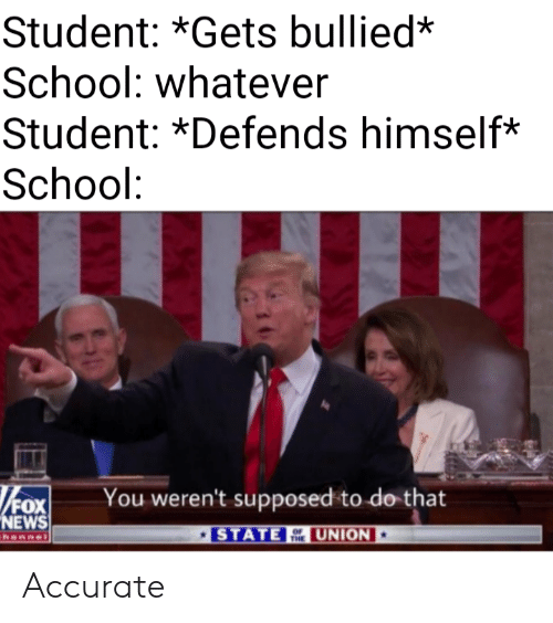 Fox News: Student: *Gets bullied*  School: whatever  Student: *Defends himself*  School:  FOX  NEWS  You weren't supposed to do that  UNION  STATE  hannel  THE Accurate