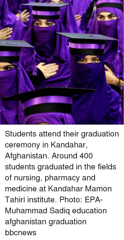 epa: Students attend their graduation ceremony in Kandahar, Afghanistan. Around 400 students graduated in the fields of nursing, pharmacy and medicine at Kandahar Mamon Tahiri institute. Photo: EPA-Muhammad Sadiq education afghanistan graduation bbcnews