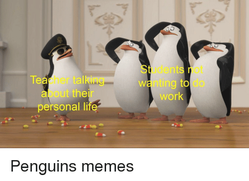 Memes, Teacher, and Work: Students not  wanting to do  work  Teacher talking  about their  personal Ii  te Penguins memes