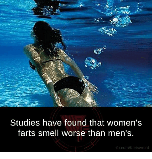 Fart Smell: Studies have found that women's  farts smell worse than men's.  fb.com/facts weird