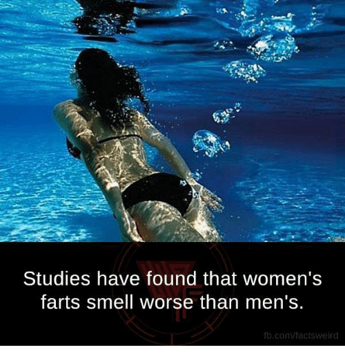 Fart Smell: Studies have found that women's  farts smell worse than men's.  fb.com/factsweird