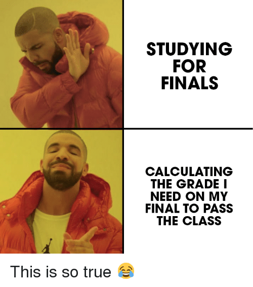 Finals, True, and Class: STUDYING  FOR  FINALS  CALCULATING  THE GRADE I  NEED ON MY  FINAL TO PASS  THE CLASS This is so true 😂