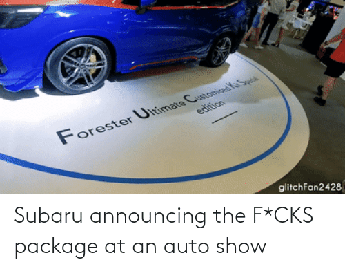 auto: Subaru announcing the F*CKS package at an auto show