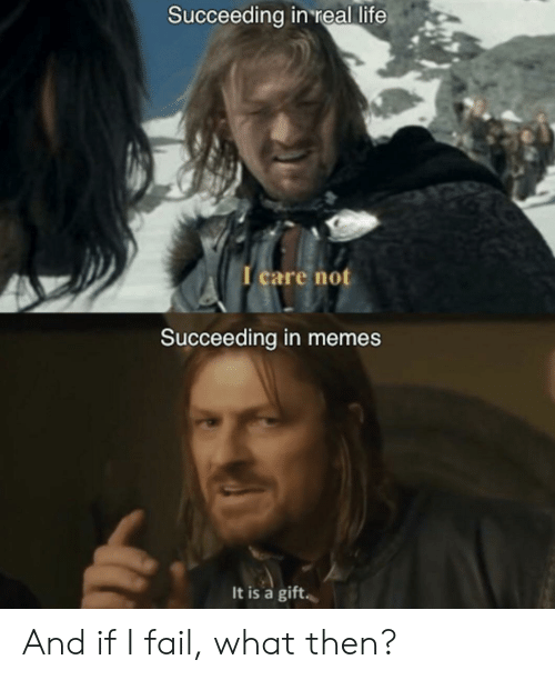 Fail, Life, and Memes: Succeeding in 'real life  I care not  Succeeding in memes  It is a gift And if I fail, what then?