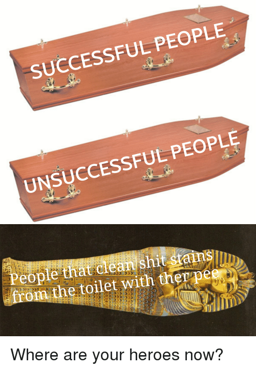 Heroes, Dank Memes, and Now: SUCCESSFUL PEOPLE  UNSUCCESSFUL PEOPLE  eopteithatclcan  from the toilet with therpee  sh
