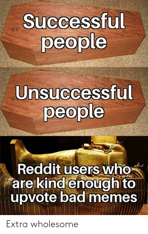Bad Memes: Successful  people  Unsuccessful  people  Reddit users who  are kind enough to  upvote bad memes Extra wholesome