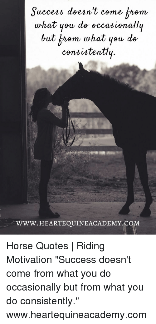"""Horse, Quotes, and Success: Suecess doesn't come Arem  what yeu de eccasisnallu  uccesi dses  but b九em what yew de  consistentlų  WWW.HEARTEQUINEACADEMY C  OM Horse Quotes 