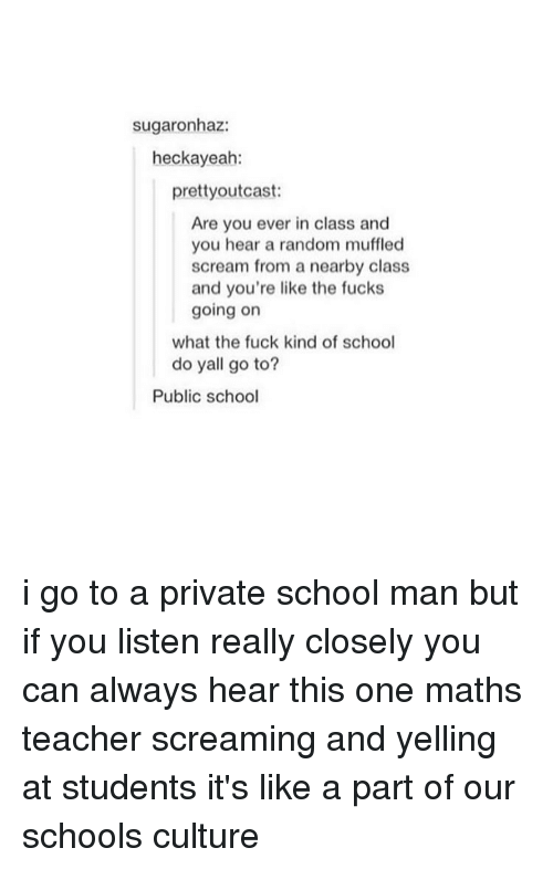Tumblr, Public School, and Yelle: sugaronhaz:  heckayeah:  prettyoutcast:  Are you ever in class and  you hear a random muffled  scream from a nearby class  and you're like the fucks  going on  what the fuck kind of school  do yall go to?  Public school i go to a private school man but if you listen really closely you can always hear this one maths teacher screaming and yelling at students it's like a part of our schools culture