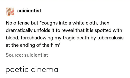 Ending: suicientist  No offense but *coughs into a white cloth, then  dramatically unfolds it to reveal that it is spotted with  blood, foreshadowing my tragic death by tuberculosis  at the ending of the film*  Source: suicientist poetic cinema