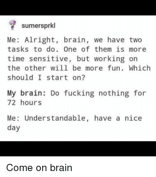 Fucking, Brain, and Time: sumersprkl  Me: Alright, brain, we have two  tasks to do. One of them is more  time sensitive, but working or  the other WiLl be more fun. Which  should I start on?  My brain: Do fucking nothing for  72 hours  Me: Understandable, have a nice Come on brain