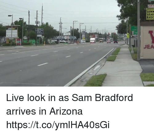 Football, Nfl, and Sports: SUMM  GEAR  RASC  SUBWAY  SPC  CAMP  sh ave  TAX  JEA Live look in as Sam Bradford arrives in Arizona https://t.co/ymlHA40sGi