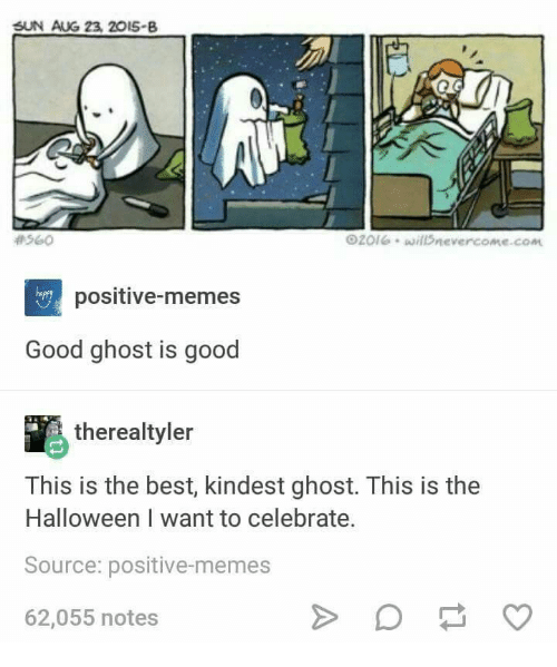 Halloween, Memes, and Best: SUN AUG 23, 2015-B  560  2olwilDnevercome.com  hapey  positive-memes  Good ghost is good  therealtyler  This is the best, kindest ghost. This is the  Halloween I want to celebrate.  Source: positive-memes  62,055 notes