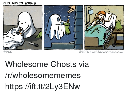 Wholesome, Sun, and Com: SUN AUG 23, 20I5-8  #560  O20lb will5nevercome.com Wholesome Ghosts via /r/wholesomememes https://ift.tt/2Ly3ENw