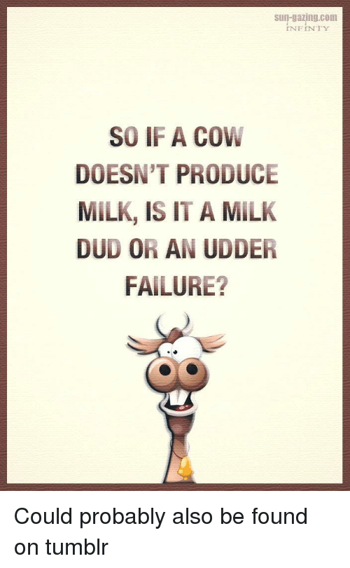 Tumblr, Failure, and Terrible Facebook: Sun-gazng.com  INFINTY  SO IF A COW  DOESN'T PRODUCE  MILK, IS IT A MILK  DUD OR AN UDDER  FAILURE?
