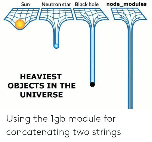 node: Sun  Neutron star Black hole node_modules  HEAVIEST  OBJECTS IN THE  UNIVERSE Using the 1gb module for concatenating two strings