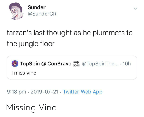 Vine: Sunder  @SunderCR  tarzan's last thought as he plummets to  the jungle floor  TopSpin @ ConBravo  @TopSpinThe... 10h  SOON  I miss vine  9:18 pm 2019-07-21. Twitter Web App Missing Vine