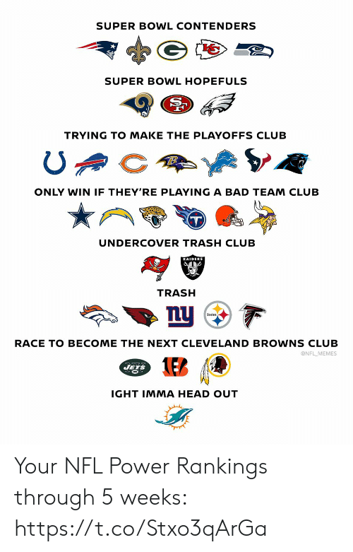 Bad, Club, and Football: SUPER BOWL CONTENDERS  SUPER BOWL HOPEFULS  TRYING TO MAKE THE PLAYOFFS CLUB  ONLY WIN IF THEY'RE PLAYING A BAD TEAM CLUB  UNDERCOVER TRASH CLUB  RAIDERS  TRASH  nu  Steelers  RACE TO BECOME THE NEXT CLEVE LAND BROWNS CLUB  @NFL MEMES  JETS  IGHT IMMA HEAD OUT Your NFL Power Rankings through 5 weeks: https://t.co/Stxo3qArGa