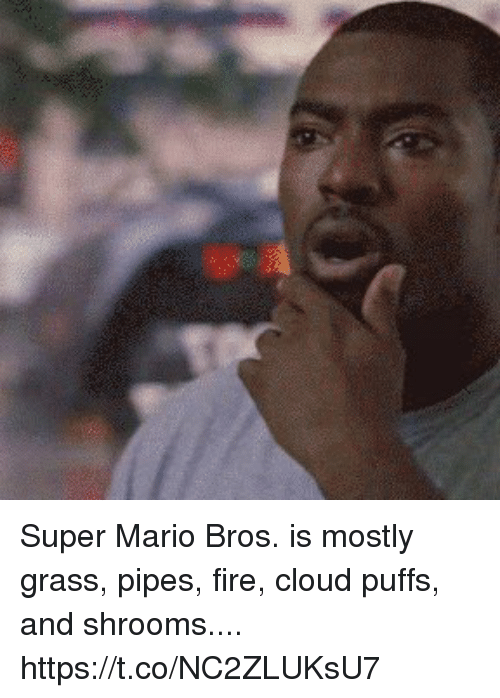 Grasse: Super Mario Bros. is mostly  grass,  pipes,  fire,  cloud puffs,  and shrooms.... https://t.co/NC2ZLUKsU7