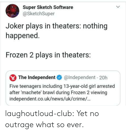 Outrage: Super Sketch Software  @SketchSuper  Joker plays in theaters: nothing  happened.  Frozen 2 plays in theaters:  The Independent O  @Independent 20h  Five teenagers including 13-year-old girl arrested  after 'machete' brawl during Frozen 2 viewing  independent.co.uk/news/uk/crime/. laughoutloud-club:  Yet no outrage what so ever.