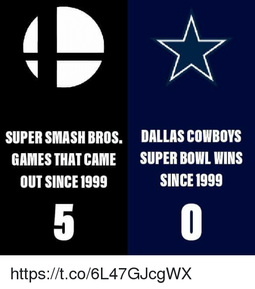 Dallas Cowboys, Smashing, and Super Bowl: SUPER SMASH BROS.  GAMES THAT CAME  OUT SINCE 1999  DALLAS COWBOYS  SUPER BOWL WINS  SINCE 1999 https://t.co/6L47GJcgWX