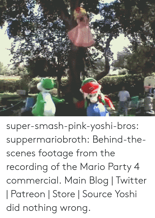 mario party: super-smash-pink-yoshi-bros: suppermariobroth:  Behind-the-scenes footage from the recording of the Mario Party 4 commercial. Main Blog | Twitter | Patreon | Store | Source  Yoshi did nothing wrong.